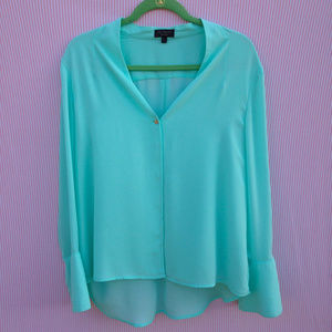 The Limited V-Neck Bell Sleeve Blouse in Aqua
